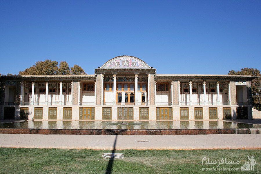 نمای بیرونی عمارت باغ عفیف آباد شیراز