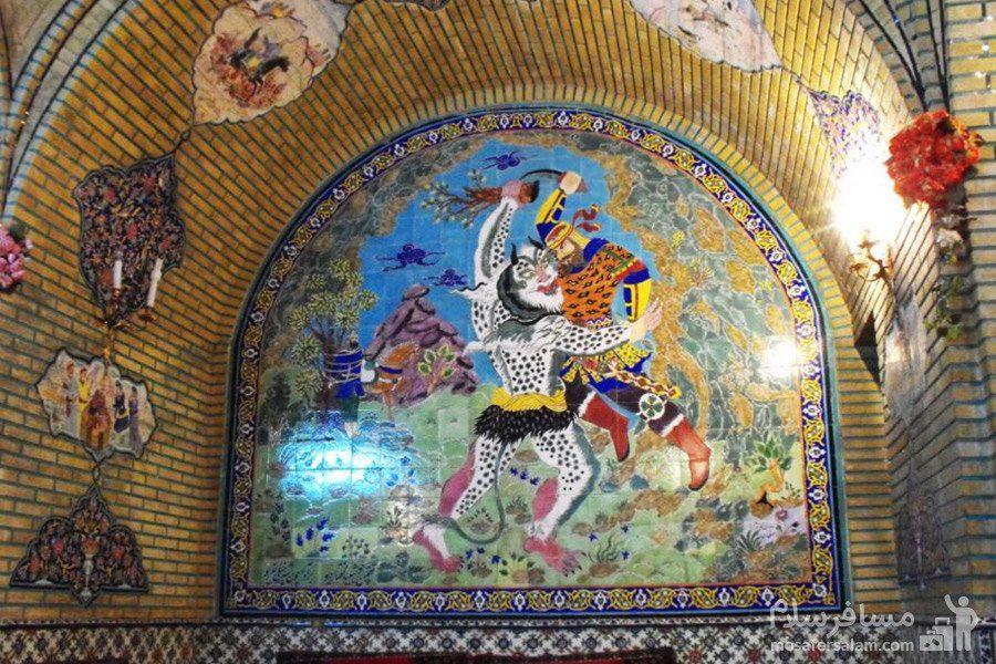 نقاشی قهوه خانه باغ عفیف آباد شیراز