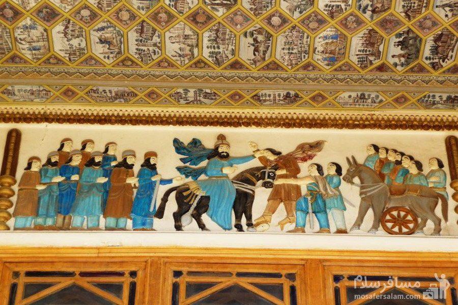 نقاشی سقف عمارت باغ عفیف آباد شیراز