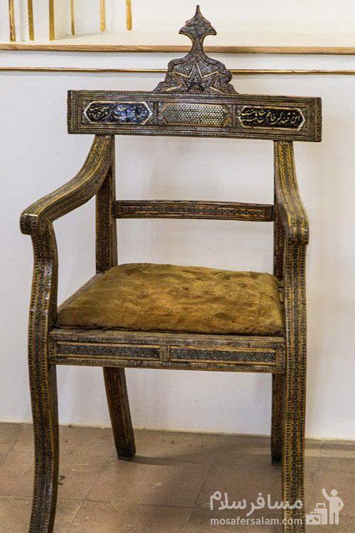 صندلی منبت کاری شده در نارنجستان قوام در شیراز