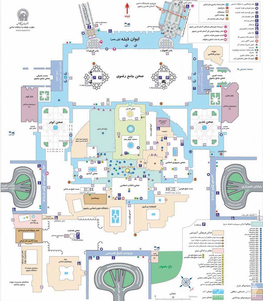 نسخه فارسی نقشه حرم و خیابانهای اطراف ان
