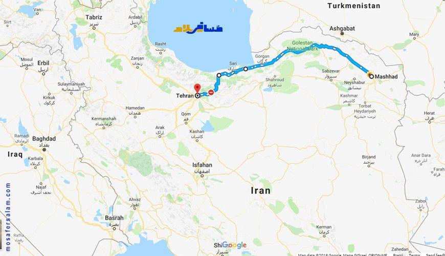 نقشه مسیر تهران به مشهد