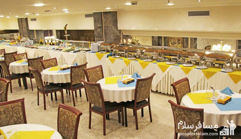 رستوران هتل ایران زمین، هتل ایران زمین مشهد، مسافرسلام، تور مشهد هتل ایران زمین
