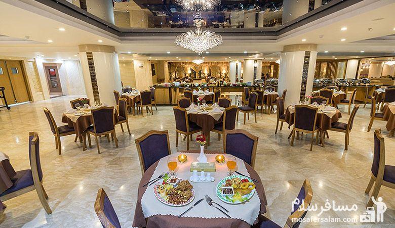 رستوران زعفران هتل آرمان مشهد، رستوران هتل آرمان مشهد، رزرواسیون مسافرسلام