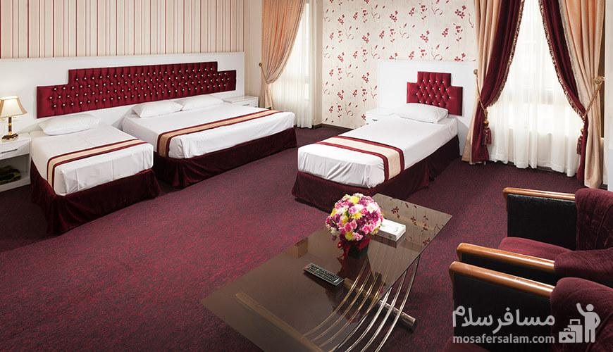 اتاق 4 تخته, هتل رضویه مشهد